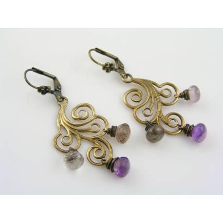 Swirly Chandelier Earrings with Moss Amethyst