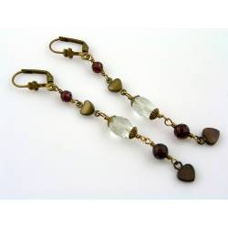 Handmade Earrings with Garnet, Prasiolite and Heart Charms