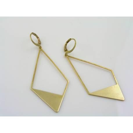 Large Art Deco Style Earrings, Solid Brass