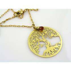 Golden Tree of Life Necklace with Garnet
