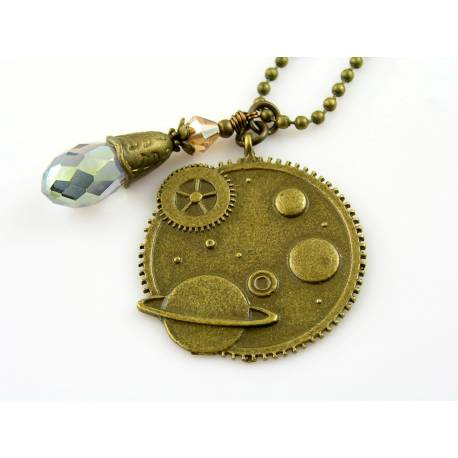 Crystal Steampunk Necklace, Saturn Pendant