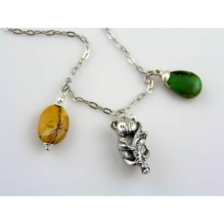 Australian Necklace with Sydney Opera Charm and Australian Gemstones