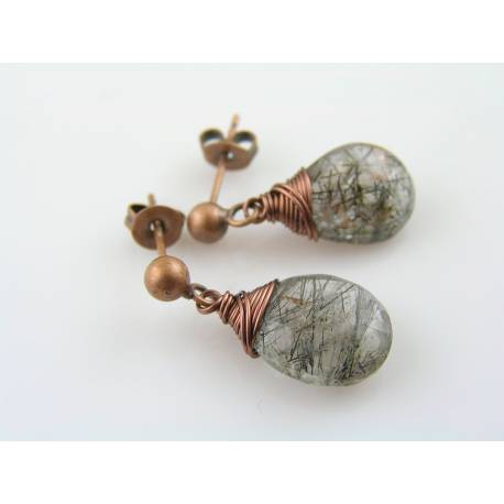 Wire Wrapped Earrings with Moss Amethyst, Copper Studs