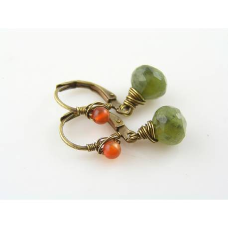 Vesuvianite and Carnelian Earrings