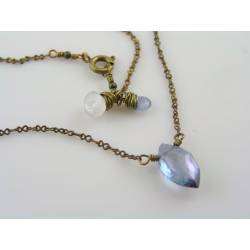 Mystic Blue Quartz, Moonstone and Sapphire Necklace