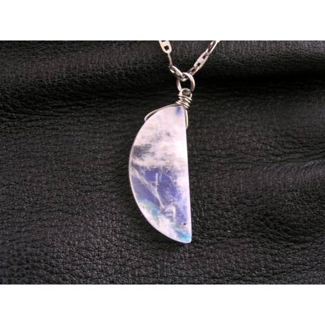 Moon and Star Necklace with Moonstone and Crystal