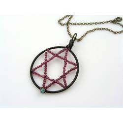 Wire Wrapped Star of David with Garnet