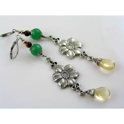 Flower Earrings with Citrine and Aventurine