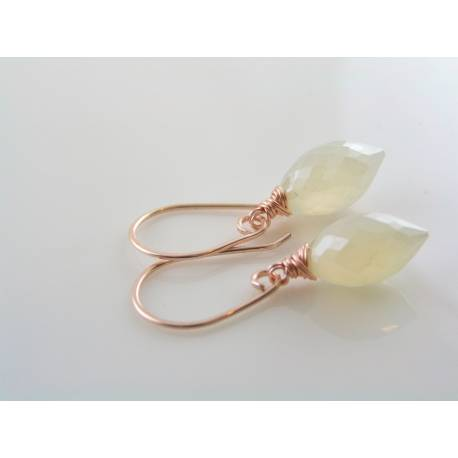 Pearl Chalcedony Earrings, Rose Gold