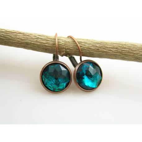 Copper Earrings with Teal Cabochons