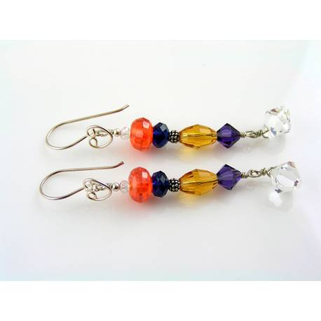 Long Sterling Silver Earrings with Gemstones and Crystals