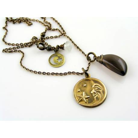 Smokey Quartz Crescent Moon Necklace