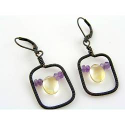 Wire Wrapped Earrings with Citrine and Amethyst