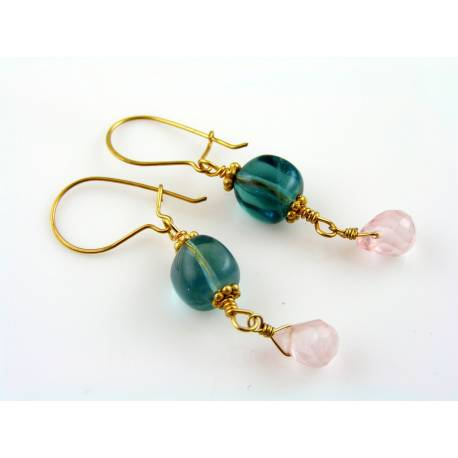 Fluorite Earrings with Rose Quartz, gold filled