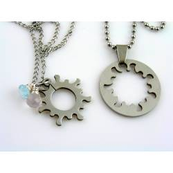 Matching Couple Necklaces, Gear Wheel Necklace with Rose Quartz and Labradorite