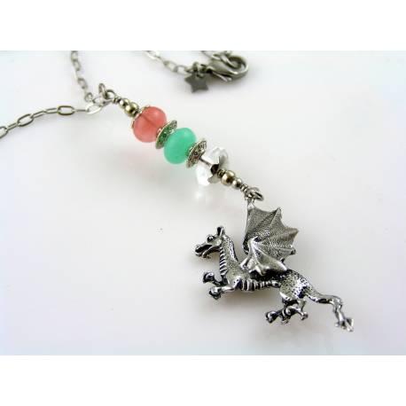 Dragon Necklace with Gemstones