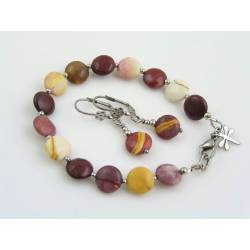 Mookaite Bracelet and Earrings Set