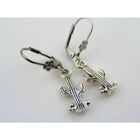 Cactus Earrings, Silver