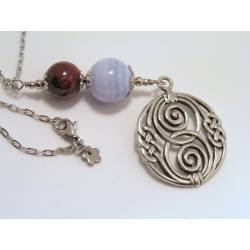 Celtic Necklace with Blue Lace Agate and Garnet