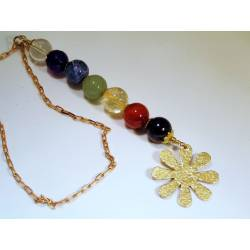 Chakra Gemstone Necklace, Hammered Flower Pendant