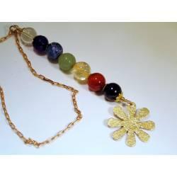 Chakra Gemstone Necklace, Hammered Flower Pendant