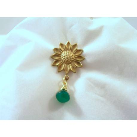 Sunflower Brooch with Green Onyx