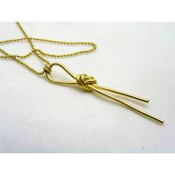 Large Knot Necklace, Golden Brass