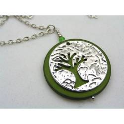Tree of Life Necklace with Green Pendant