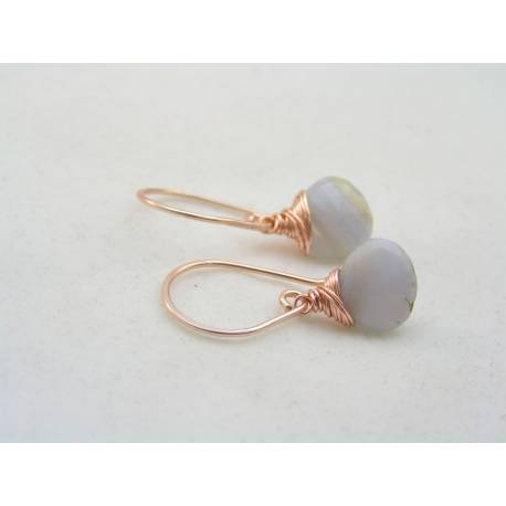 Blue Lace Agate Rose Gold Earrings