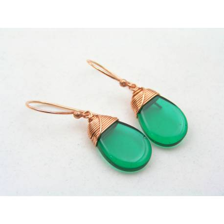 Sapphire Blue Drop Earrings, Wire Wrapped Czech Glass Earrings