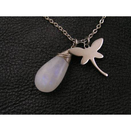 Matching dragonfly necklace with rainbow moonstone, available separately