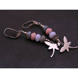 Dragonfly Earrings, Labradorite, Pink Opal and Blue Chalcedony