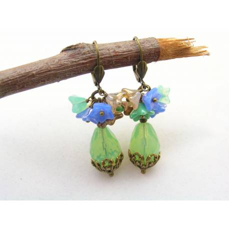 Mint Green Czech Glass Drops with Flower Cluster Earrings