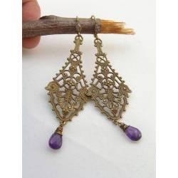 Long Ornate Amethyst Chandelier Earrings
