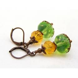 Mint Opal and Honey Czech Bead Earrings, Spring Colours