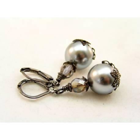 Silver Sea Shell Pearl Earrings