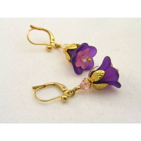 Purple and Pink Lucite Flower Earrings