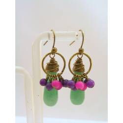 Colorful Wire Wrapped Jade Earrings