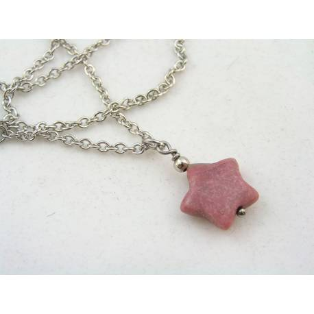 Pink Rhodonite Star Necklace