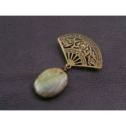 Labradorite Fan Brooch