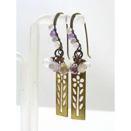Wire Wrapped Flower Earrings