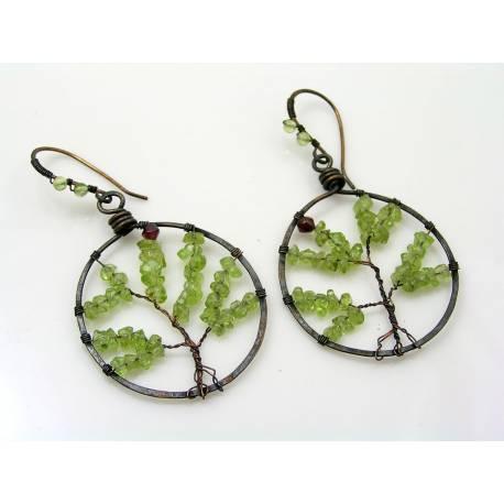 Tree of Life Earrings - Peridot and Garnet