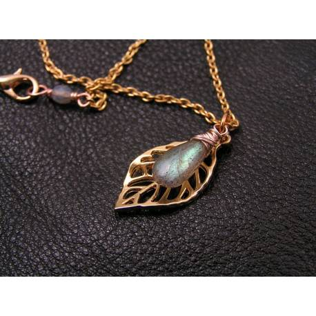 Rose Gold Leaf Necklace with Labradorite
