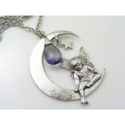 Large Crescent Moon and Angel Necklace, Iolite