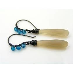 Grey Chalcedony and Mystic Topaz Earrings