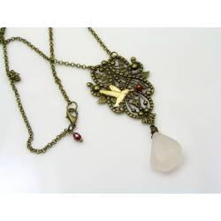 Rose Quartz Necklace, Bronze Filigree