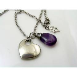 Solid Heart Necklace with Chevron Amethyst Drop