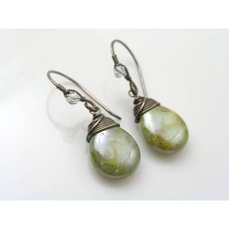 Silver Green Wire Wrapped Czech Glass Drop Earrings