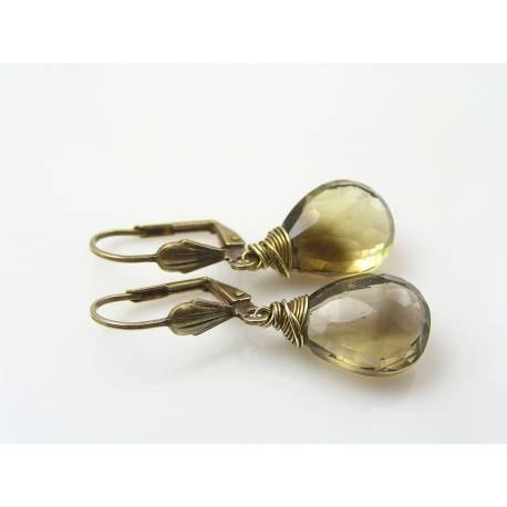 Large Smokey Lemon Quartz Wire Wrapped Earrings