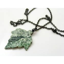 Natural Carved Gemstone Leaf Necklace